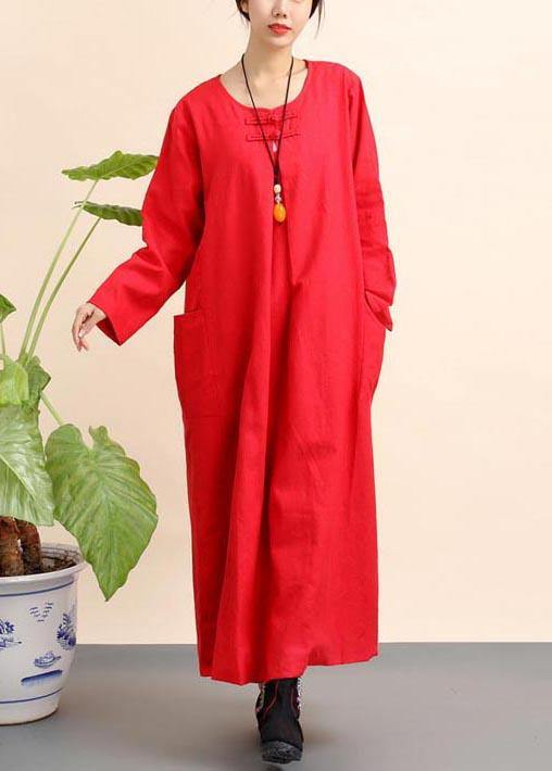 Unique Red Tunics O Neck Pockets Robe Spring Dresses