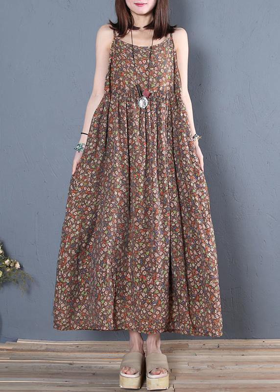 Unique Spaghetti Strap wrinkled cotton summer dresses pattern chocolate print Maxi Dress