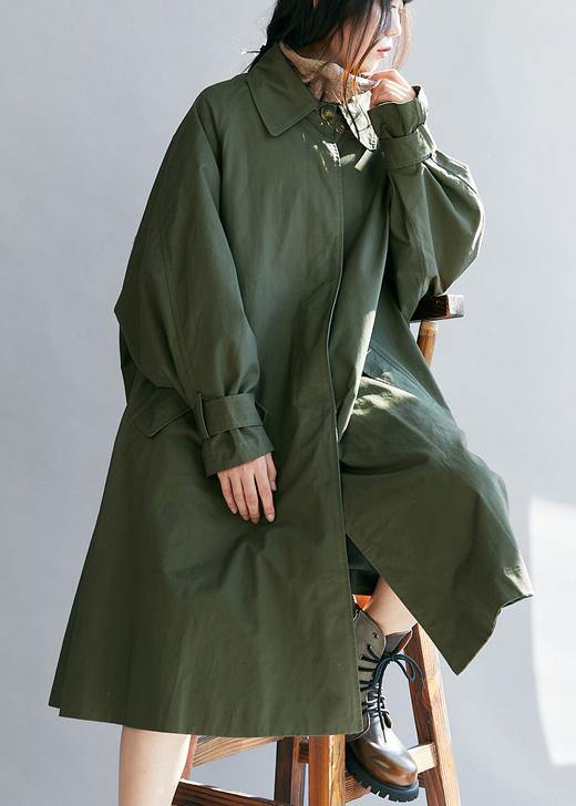 Unique army green Plus Size Long coats Tutorials lapel pockets fall women coats