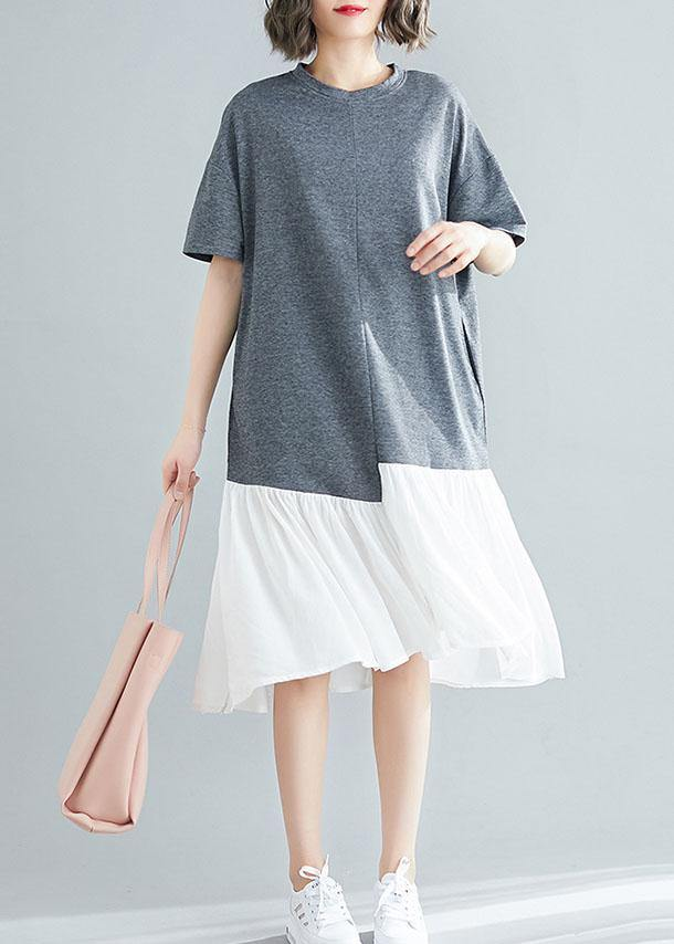 Unique asymmetric patchwork cotton Tunic Shirts gray short sleeve Traveling Dresses summer