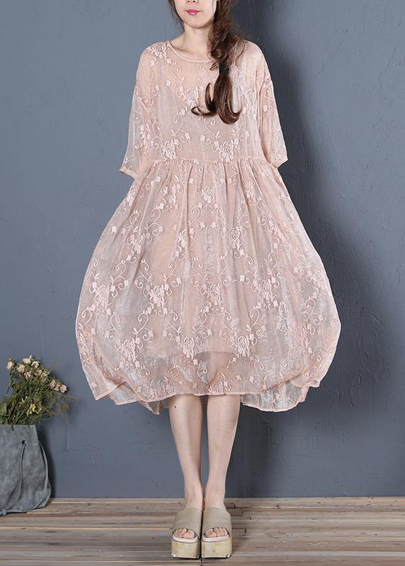 Unique beige clothes For Women o neck half sleeve oversized summer Dress