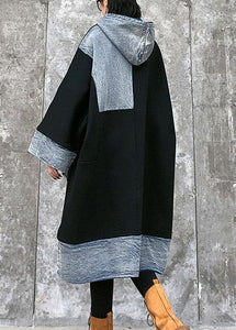 Unique black Cotton Tunics hooded pockets cotton Dress