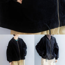 Load image into Gallery viewer, Unique black Fashion tunic coat Wardrobes drawstring hem ruffles outwear