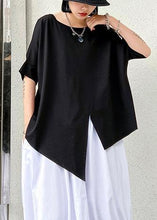 Load image into Gallery viewer, Unique black cotton clothes o neck asymmetric summer shirt