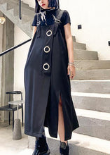 Load image into Gallery viewer, Unique black cotton dresses asymmetric loose summer Dress