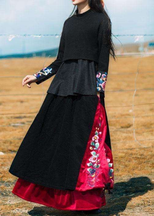 Unique black cotton quilting Skirts drawstring patchwork Skirts