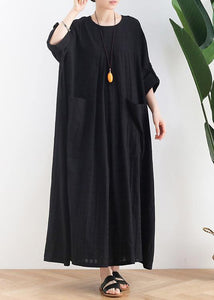 Unique black cotton quilting dresses o neck Batwing Sleeve A Line summer Dress