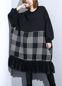 Unique black patchwork Cotton Long Shirts tassel A Line fall Dresses