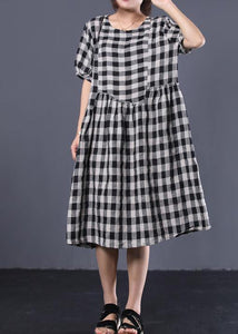 Unique black plaid cotton Tunics ruffles patchwork summer Dresses