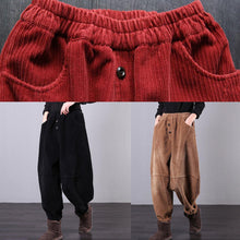 Load image into Gallery viewer, Unique black trousers oversized fall Corduroy pockets Cotton women trousers