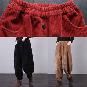 Unique black trousers oversized fall Corduroy pockets Cotton women trousers