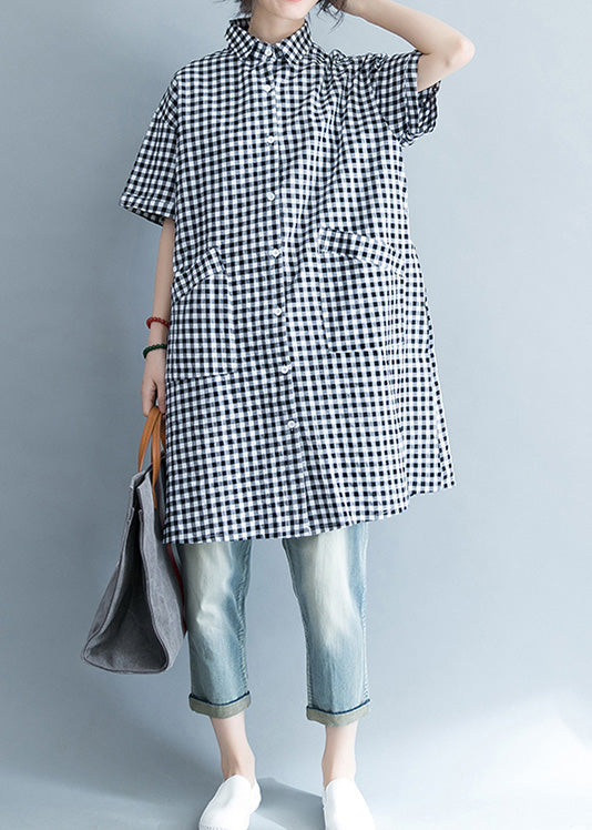 Unique black white plaid cotton linen shirts women stylish lapel pockets oversized Summer shirts