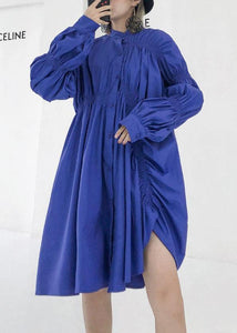 Unique blue Cotton clothes wrinkled short fall shirt Dress