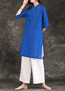 Unique blue linen Robes v neck Three Quarter sleeve Vestidos De Lino Summer Dresses