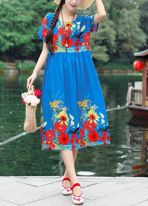 Unique blue short sleeve cotton Tunics print Maxi summer Dresses