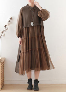 Unique chocolate linen dress lapel large hem Maxi fall Dresses