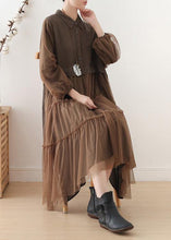Load image into Gallery viewer, Unique chocolate linen dress lapel large hem Maxi fall Dresses