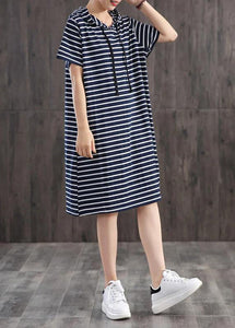 Unique cotton clothes Women Casual Classic Wild Striped Hooded Loose Dress