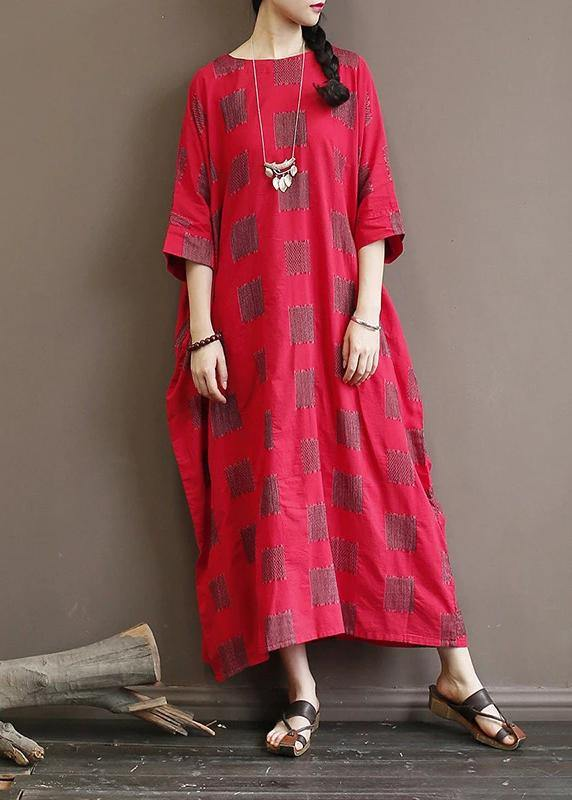 Unique cotton quilting clothes 18th Century Casual Square Batwing Sleeve Loose Dress