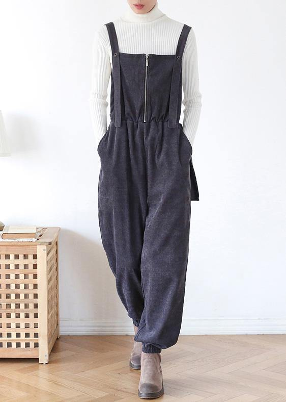 Unique dark blue high waist spring jumpsuit pants
