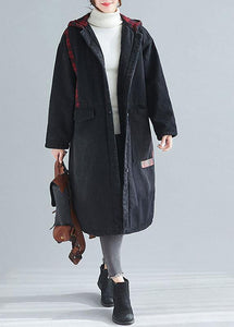 Unique denim black top quality casual coats women Inspiration hooded patchwork spring outwears
