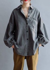 Unique denim gray cotton Blouse low high design daily fall blouses