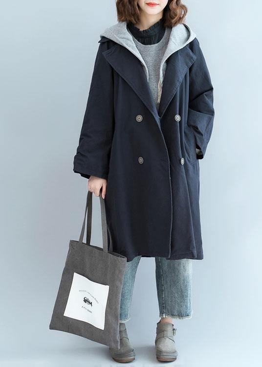 Unique double breast Fine clothes For Women navy oversized jackets fall