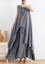 Load image into Gallery viewer, Unique gray cotton dresso neck asymmetric robes summer Dress