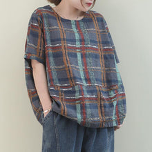 Load image into Gallery viewer, Unique gray plaid linen Blouse o neck short summer blouses