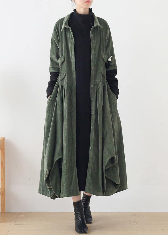 Unique green Fashion trench coat Tunic Tops false two pieces spring coats
