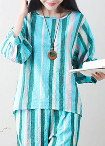 Unique green linen clothes For Women Tunic Tops striped summer top