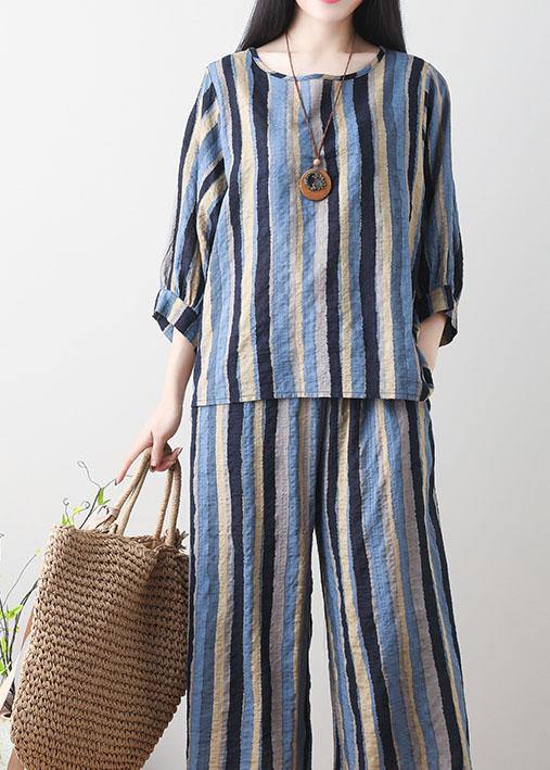 520954e89ed ... Load image into Gallery viewer, Unique green linen clothes For Women  Tunic Tops striped summer ...