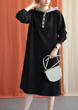 Load image into Gallery viewer, Unique hooded cotton Wardrobes Shape black Plus Size Dress fall