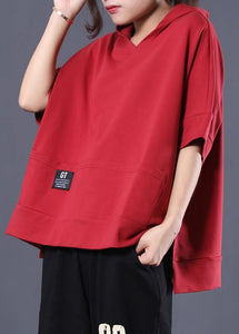 Unique hooded cotton tunic pattern red side open shirts summer