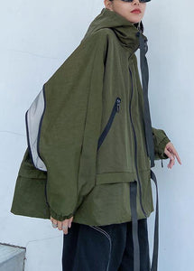 Unique hooded pockets Fashion fall coat army green baggy coat