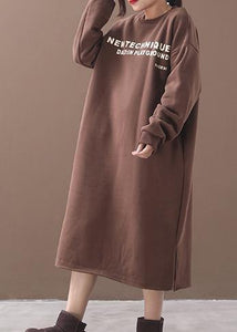 Unique khaki cotton Long Shirts side open cotton robes alphabet prints Dress
