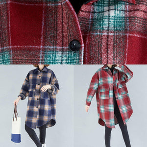 Unique lapel Button cotton shirts women Fashion Ideas navy orange plaid shirts