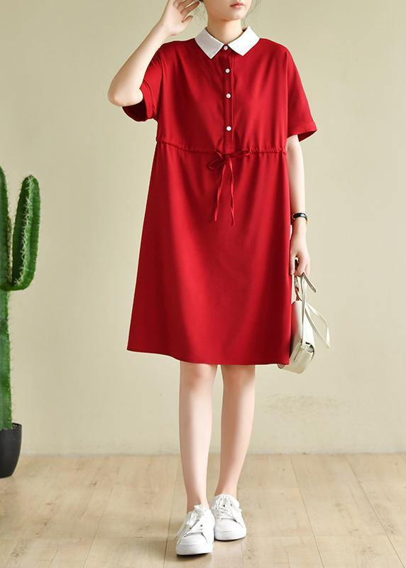 Unique lapel drawstring quilting dresses Neckline red Dress