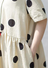 Load image into Gallery viewer, Unique linen Wardrobes 2019 Casual Polka Dot V-Neck Loose Linen Dress
