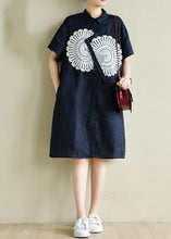 Load image into Gallery viewer, Unique navy tunic dress o neck patchwork lace Art summer Dress