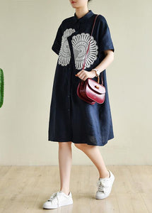 Unique navy tunic dress o neck patchwork lace Art summer Dress