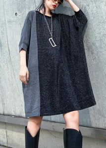 Unique o neck Batwing Sleeve Cotton Tunic pattern black Dress