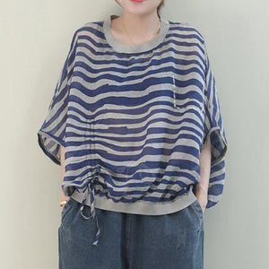 Unique o neck Batwing Sleeve linen shirts blue striped shirt