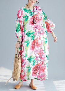 Unique o neck batwing sleeve cotton clothes Neckline red print long Dress summer