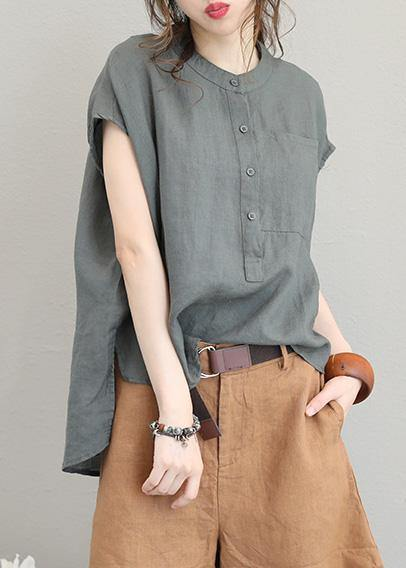 Unique o neck linen tops women blouses low high design Plus Size Clothing gray green shirt