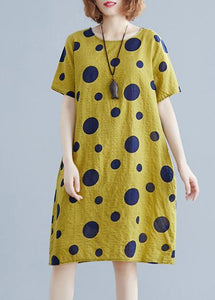 Unique o neck pockets Cotton clothes Wardrobes yellow dotted Dresses