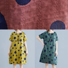 Load image into Gallery viewer, Unique o neck pockets Cotton clothes Wardrobes yellow dotted Dresses