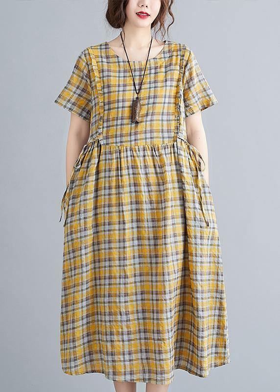 Unique o neck tie waist clothes Neckline yellow plaid loose Dress