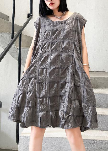 Unique o neck Cinched Cotton summer clothes Work Outfits gray Dresses
