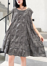 Load image into Gallery viewer, Unique o neck Cinched Cotton summer clothes Work Outfits gray Dresses